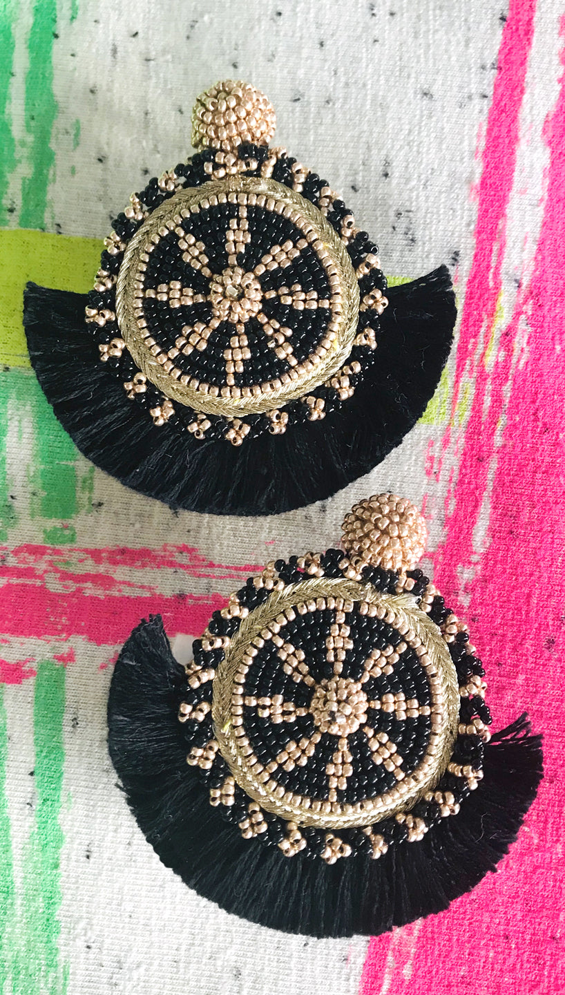 Black Havana Medallion Earrings | Olivia Dar