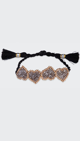 Black Mini Heart Bracelet | Olivia Dar