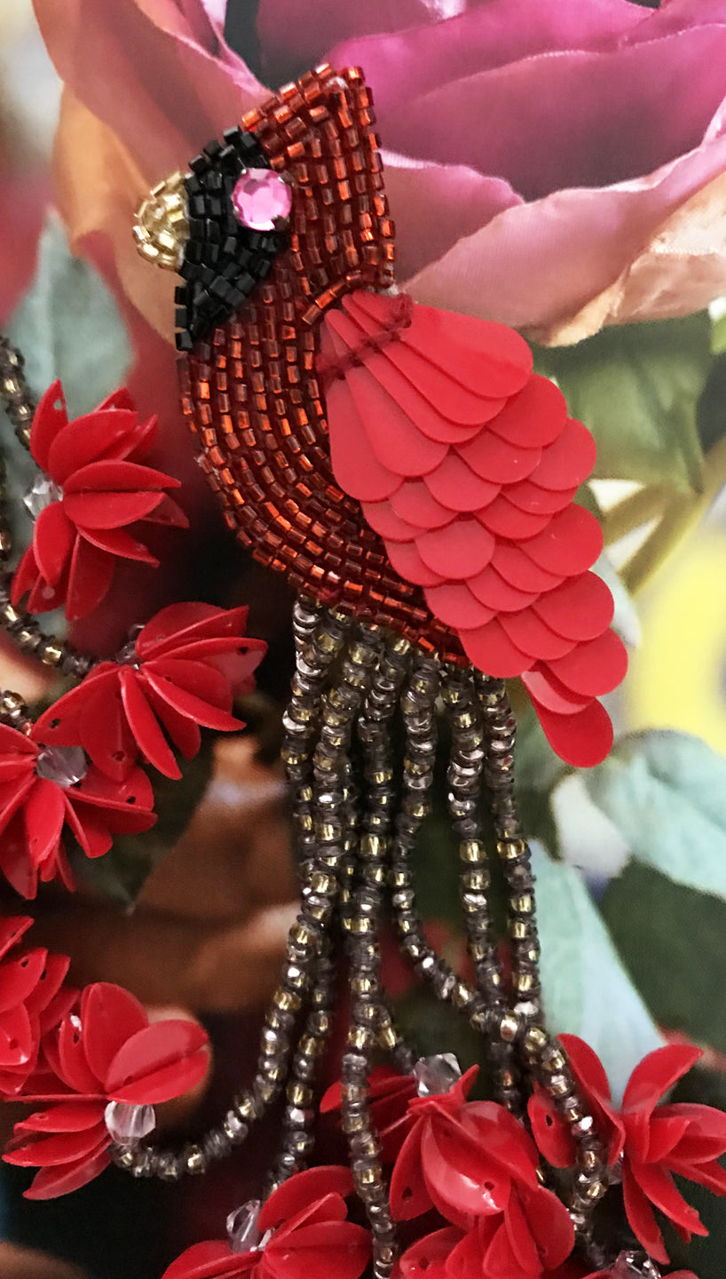 Cardinal Dangle Earrings by Olivia Dar