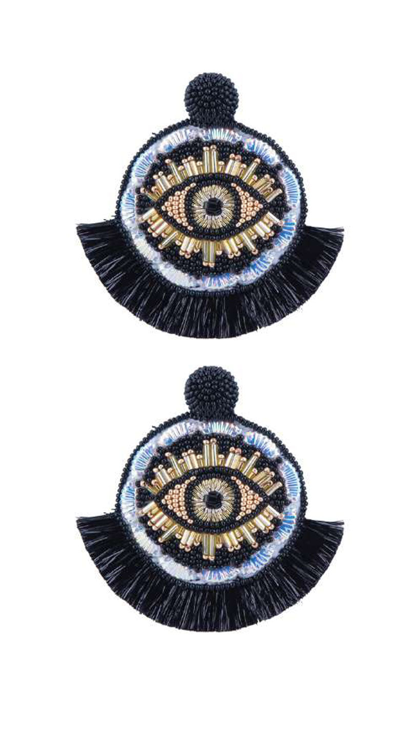 Black Beaded Evil Eye Medallion Earrings by Olivia Dar