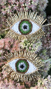 Olivia Dar Evil Eye Beaded Earrings Gold/Green