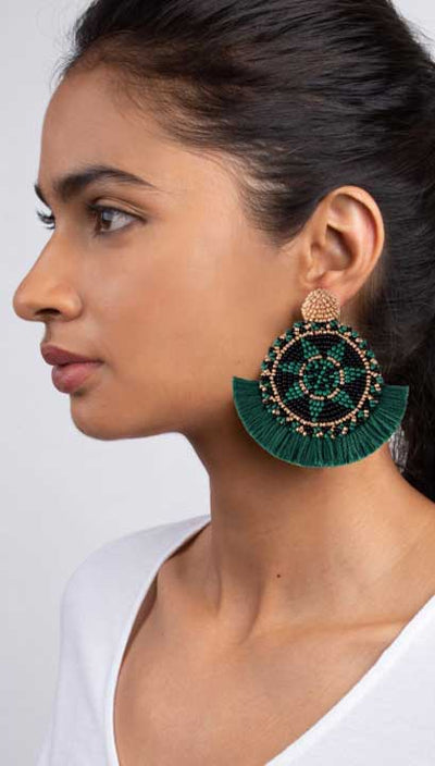 Emerald Green Beaded Fringe Havana Medallion Earrings | Olivia Dar