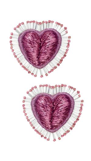 Pink and Gold Fringe Heart Earrings by Olivia Dar