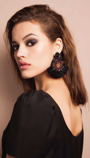 Poppy Medallion Earrings | Olivia Dar
