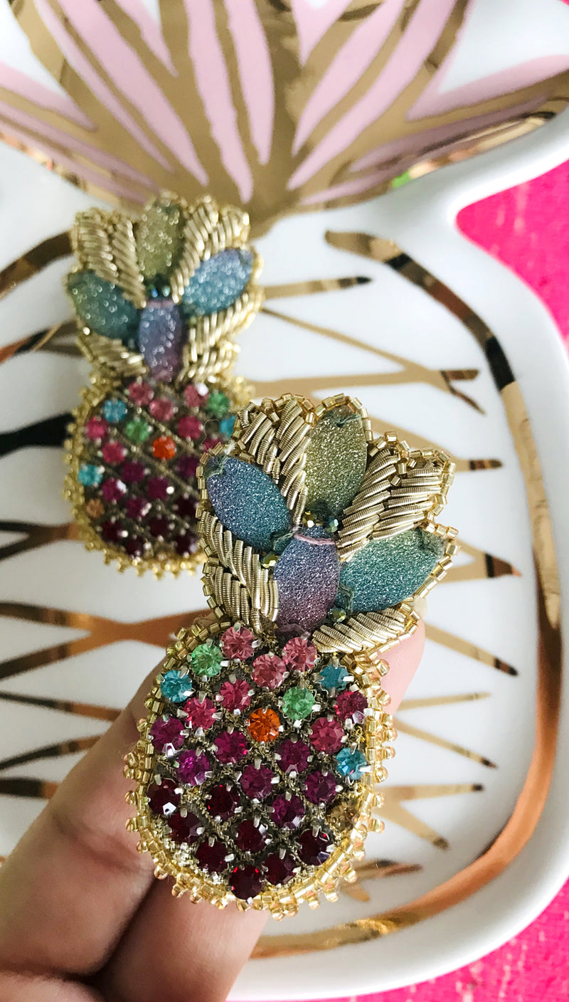 Rainbow Pineapple Earrings | Olivia Dar