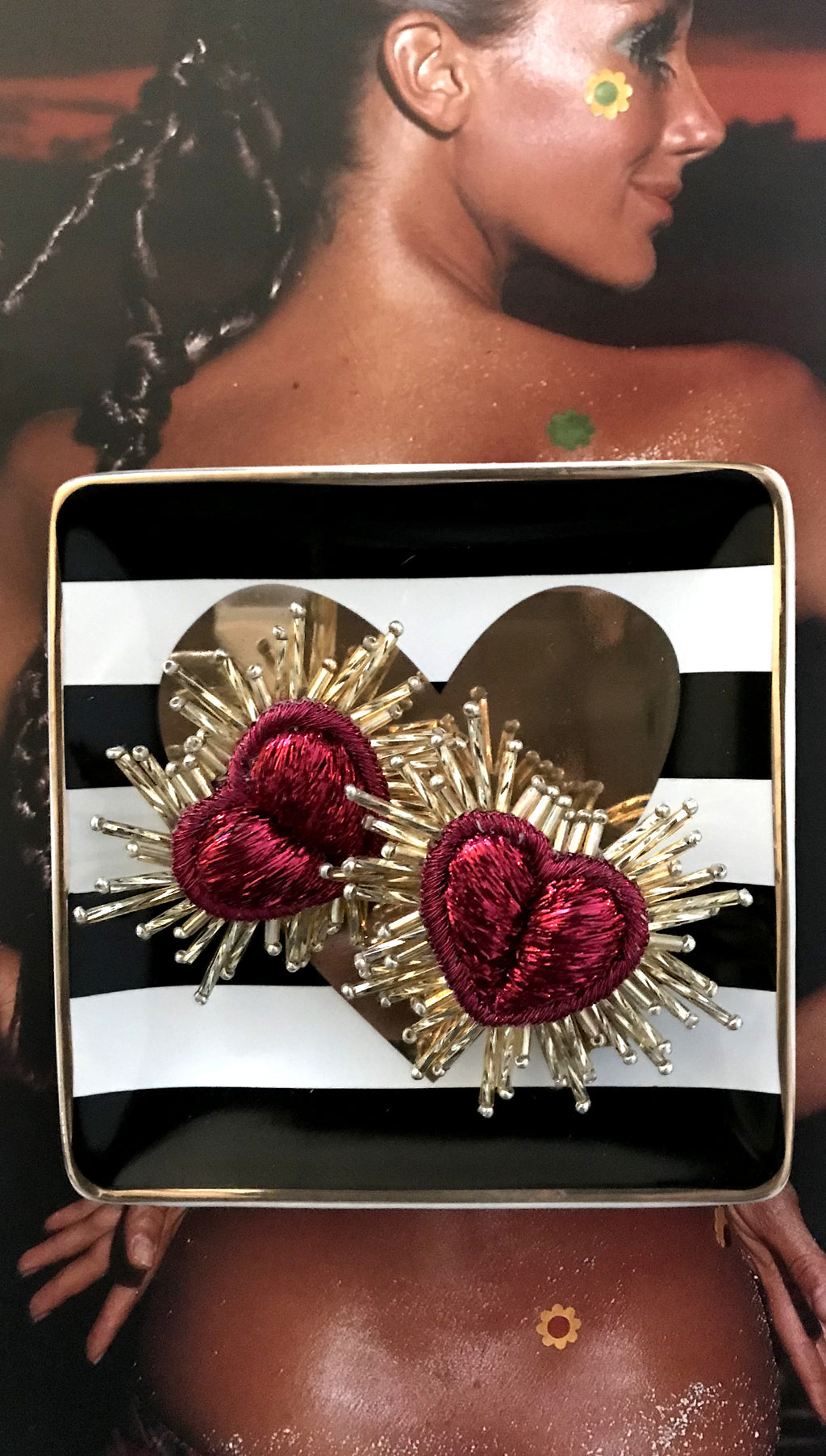 Red and Gold Fringe Heart Earrings Olivia Darr