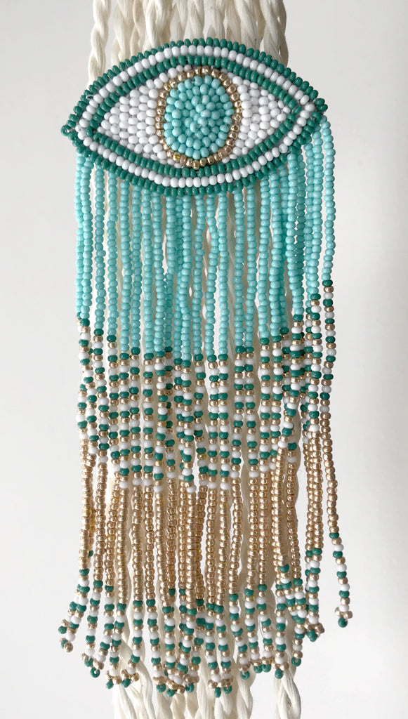 Evil Eye Long Fringe Earrings Teal/Gold