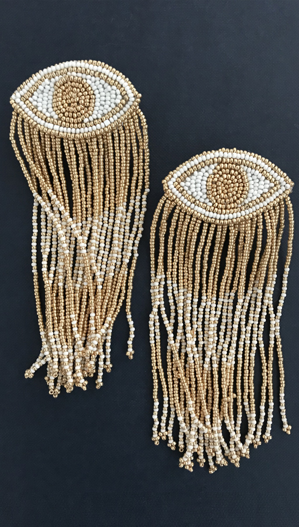 Evil Eye Long Fringe Earrings in White/Gold