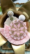 Blush Beaded Fringe Medallion Earrings by Olivia Dar