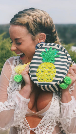 Round Pineapple Embroidered Crossbody bag
