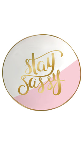 Stay Fabulous White and Gold Trinket Tray
