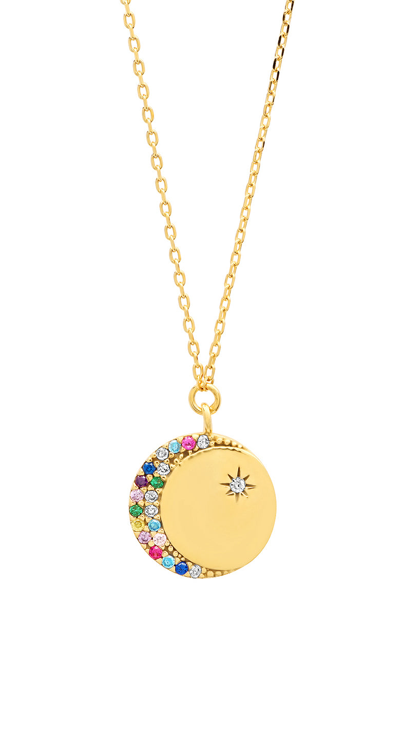 Crescent Moon Coin Pendent Necklace Tai Jewelry