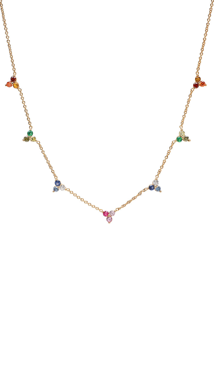 Rainbow Ombre Cluster Necklace Tai Jewelry