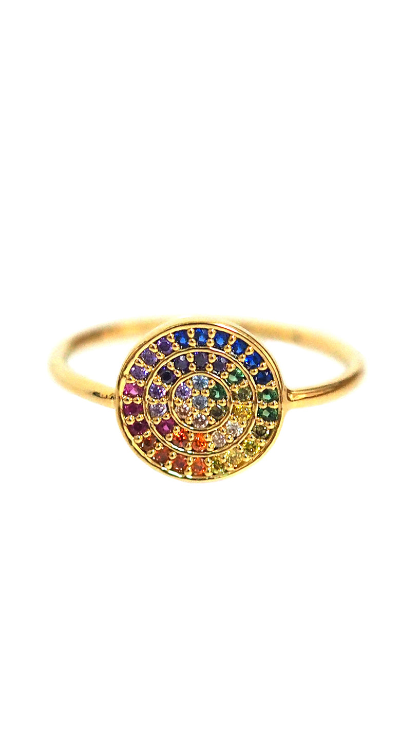 RAINBOW DISC RING WITH PAVE CZ STONES