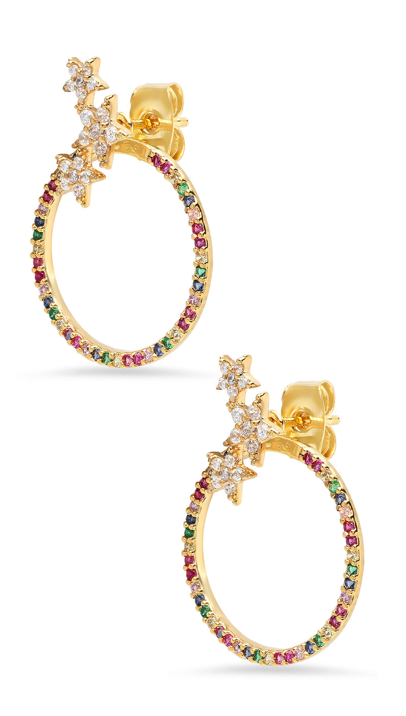 RAINBOW Star Hoop Earrings | Tai Jewelry