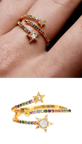 🌈 RAINBOW DISC RING WITH PAVE CZ STONES