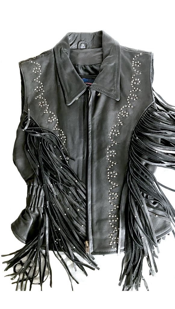 Vintage Gypsy Biker Black Leather Silver Studded Fringe Vest size XS