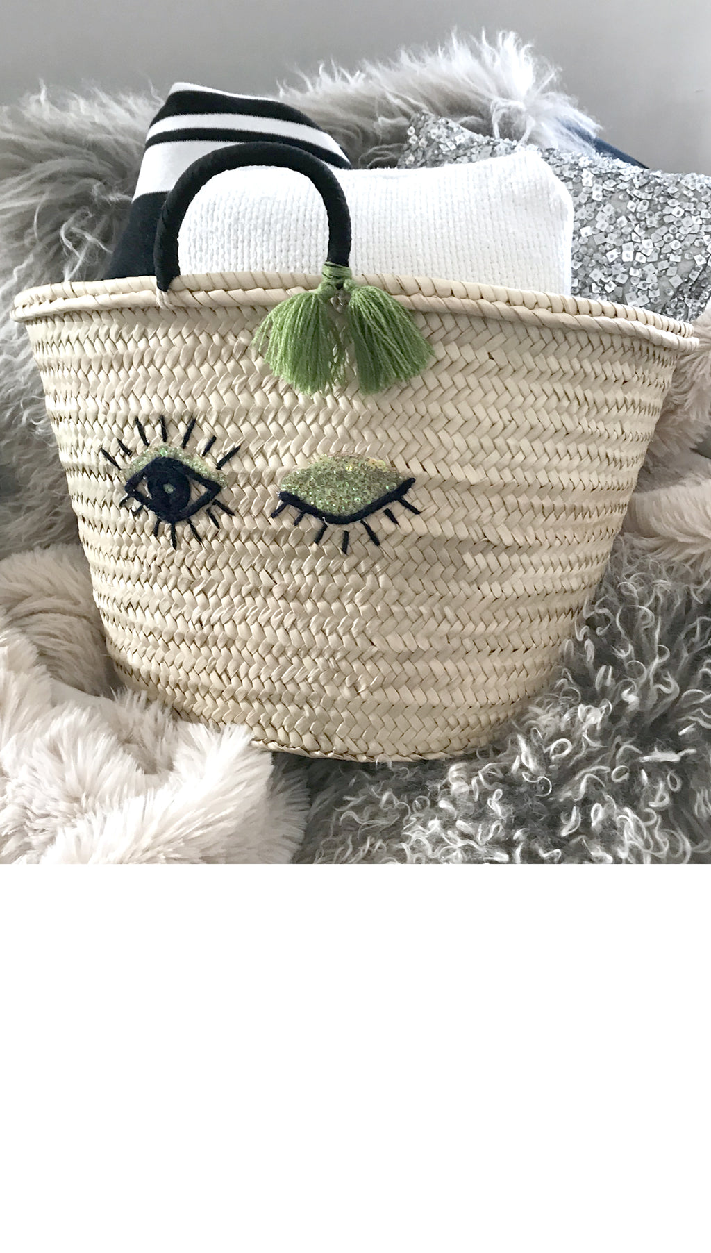Winking Eye Straw Beach Tote Bag