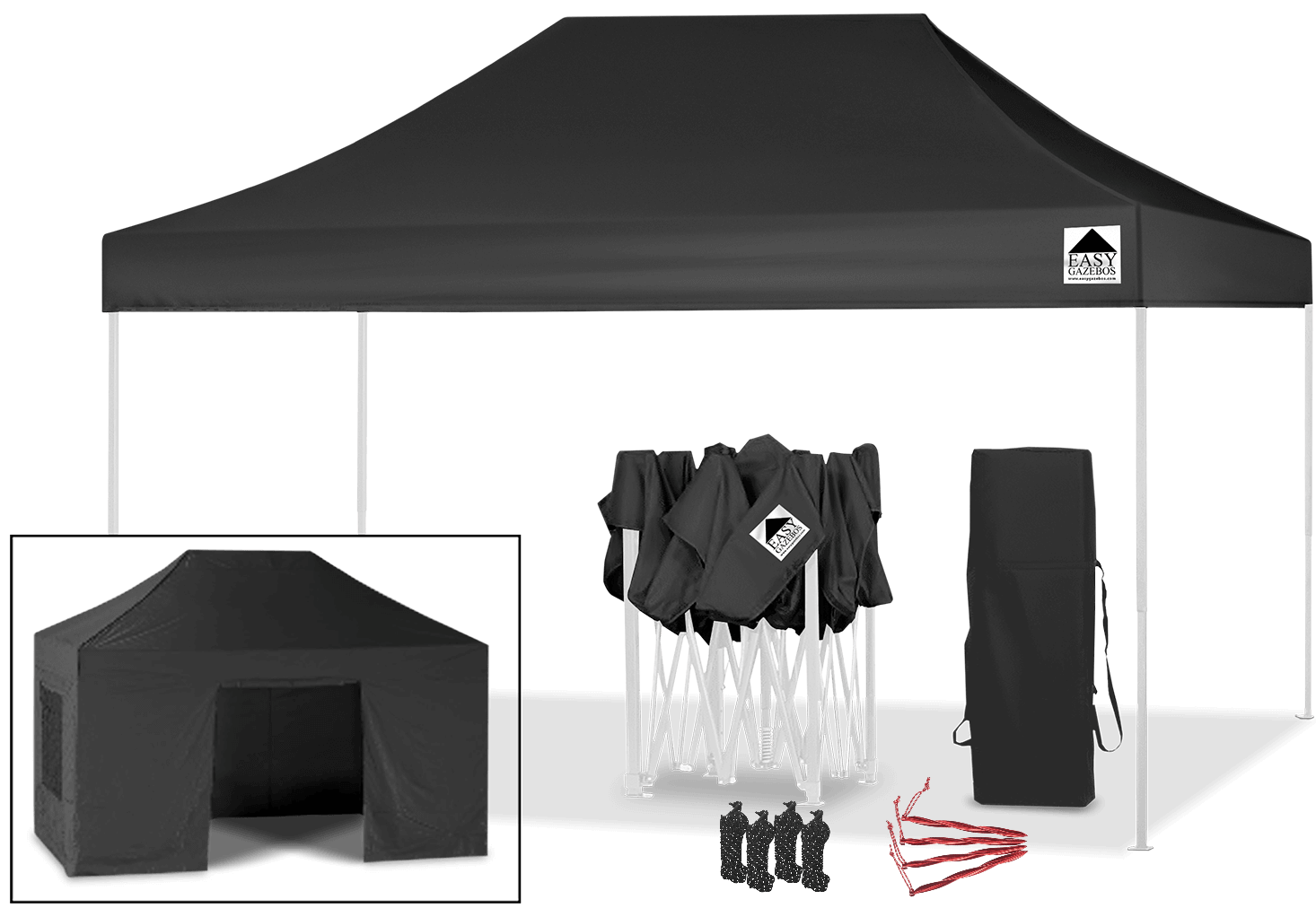 10x15' Gazebo Heavy Duty Market Stall - Event Tent (3x4.5m) Black with white frame | EasyGazebos.com