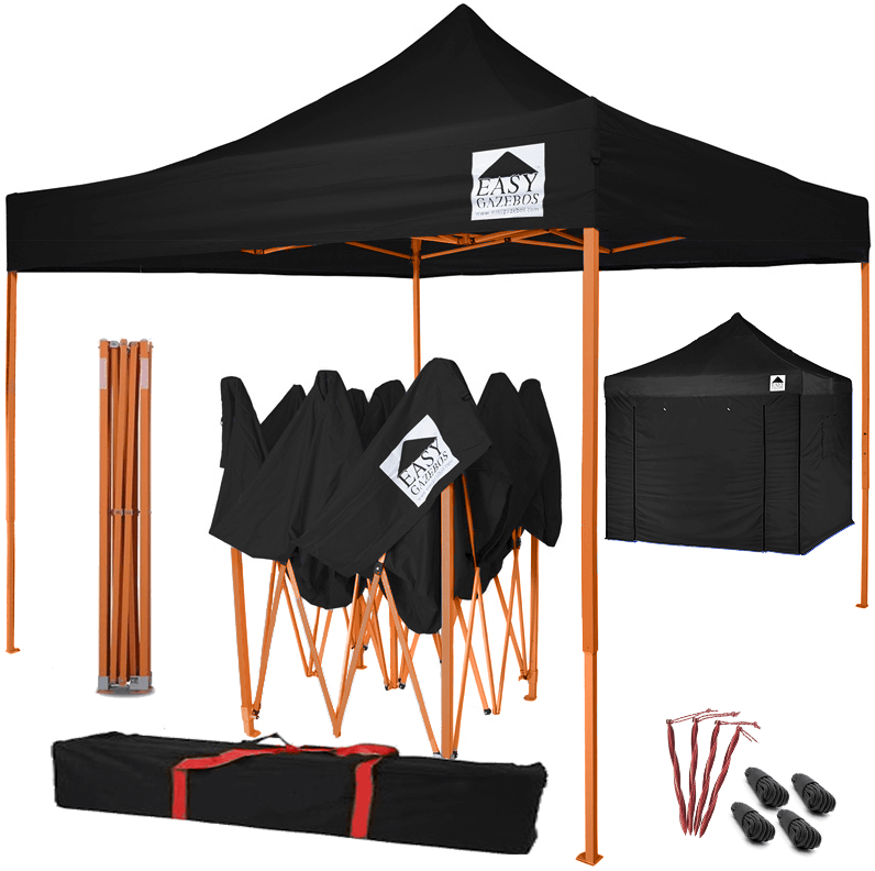 Pop-Up Gazebo with Sides - 3x3m / 10 x 10 - Black with Orange Frame