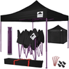 Pop-Up Gazebo with Sides - 3x3m / 10 x 10 - Black with Purple Frame