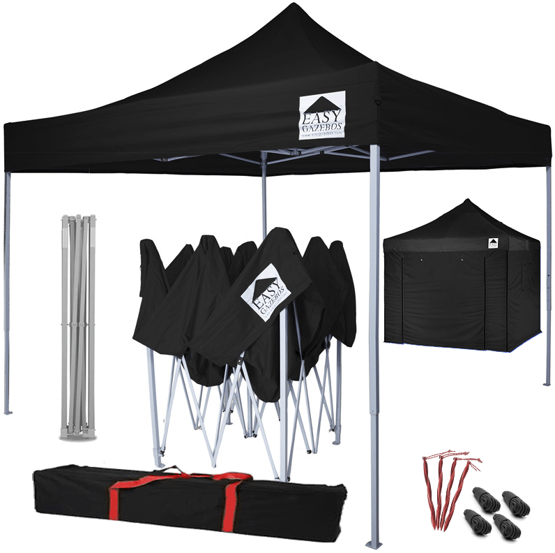 Pop-Up Gazebo with Sides - 3x3m / 10 x 10 - Black with White Frame