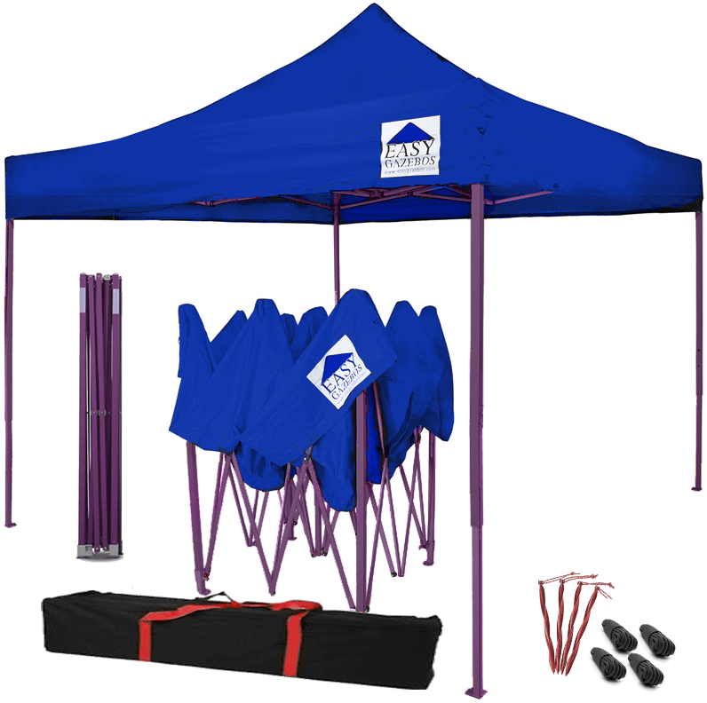 Blue Pop-Up Gazebo with Purple Frame - 3x3m / 10x10