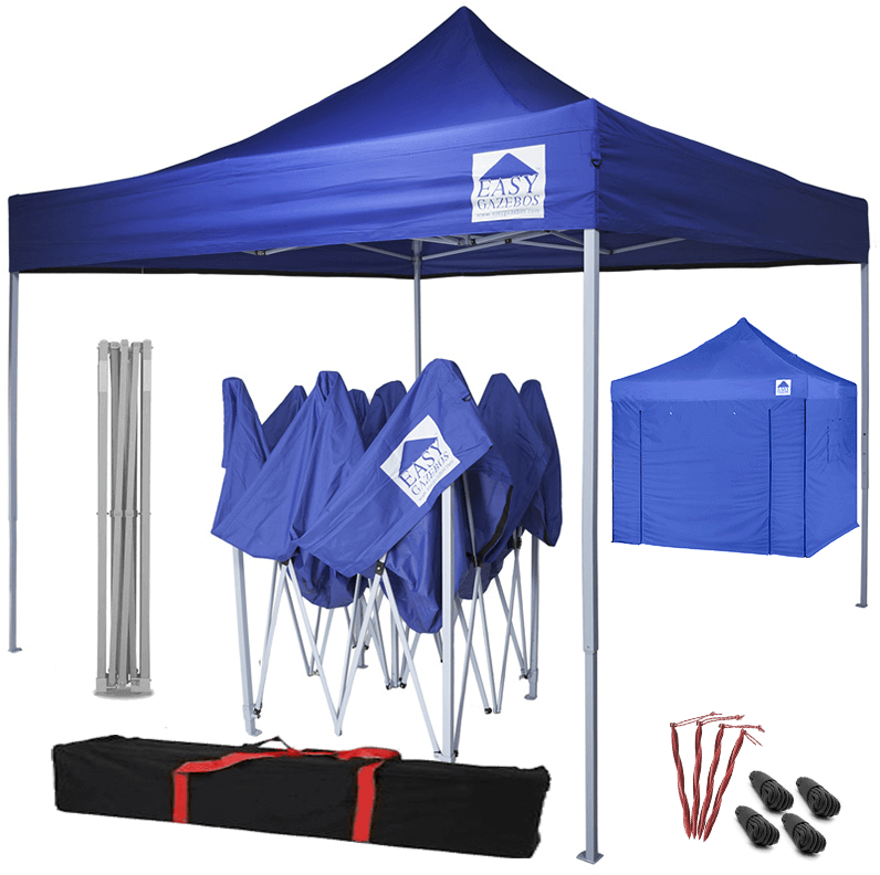 Pop-Up Gazebo with Sides - 3x3m / 10 x 10 - Blue with White Frame