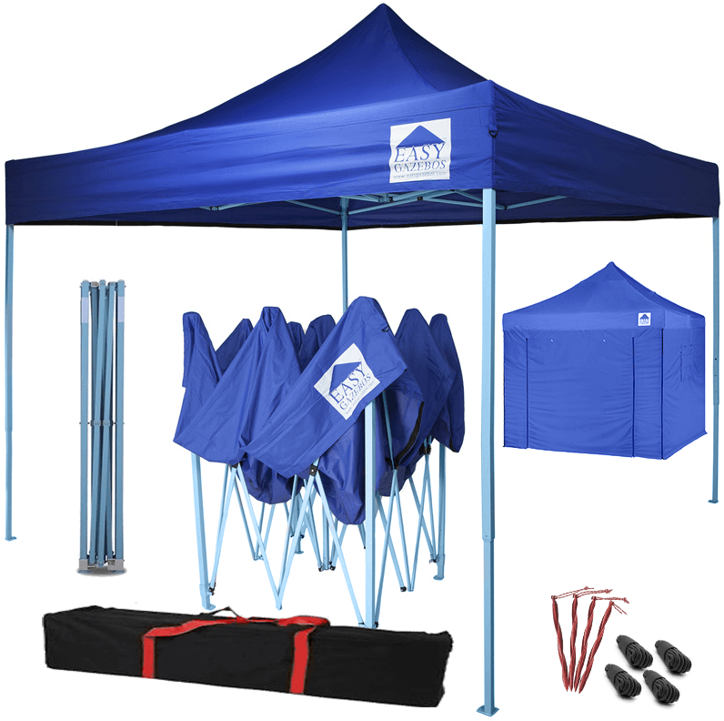 Pop-Up Gazebo with Sides - 3x3m / 10 x 10 - Blue with Blue Frame