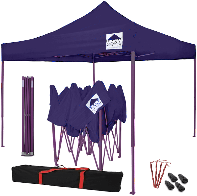 Purple Pop-Up Gazebo with Purple Frame - 3x3m / 10x10
