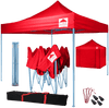 Pop-Up Gazebo with Sides - 3x3m / 10 x 10 - Red with Blue Frame