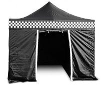 Checkered-Karting-Security-Gazebo with sides