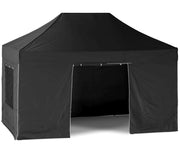 3x4.5m (10x15ft) Carnival T7 Pro - Black Waterproof Pop-Up Gazebo with Sides [3x3/3x4.5m]-EasyGazebos® Original