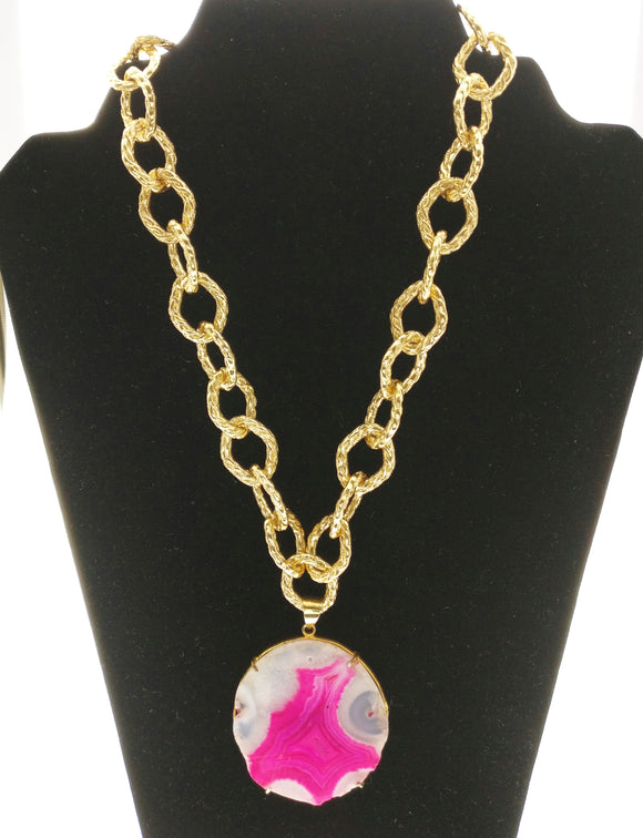 Captivating Metallic Gold Chain Decorated with a Vibrant Pink Agate Plate Encased in Gold Polished 92.5 Silver Setting (30 Inches + 2.5 Inch Pendant)