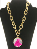 Star Jewels- Modern Designer Semi Precious Stone & Fashion Jewelry Captivating Metallic Gold Chain Decorated with a Vibrant Pink Agate Plate Encased in Gold Polished 92.5 Silver Setting (30 Inches + 2.5 Inch Pendant)