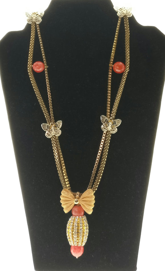 Smart Metallic Gold Chain Embellished with Butterfly Pendants Bound in the Chain and an Exquisite Cubical Crystal Inlaid Pendant (37 Inches) - Starjewels