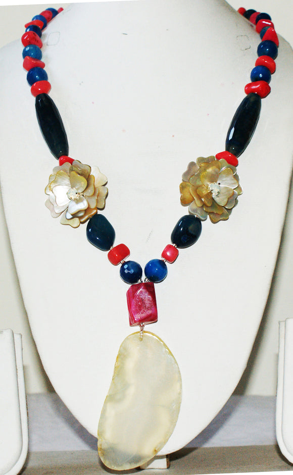 Star Jewels- Modern Designer Semi Precious Stone & Fashion Jewelry Beautiful Gemstone Necklace Enhanced with Mother of Pearl Art Flowers Pendants and a Large Volcanic Agate Plate Pendant (22 Inches + 4 Inch Pendant)