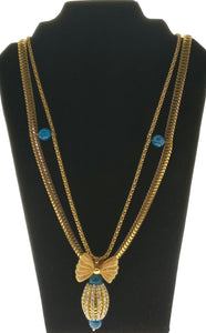 Star Jewels- Modern Designer Semi Precious Stone & Fashion Jewelry Smart Metallic Gold Chain Embellished with an Exquisite Crystal Inlaid Cubical Pendant (36 Inches)