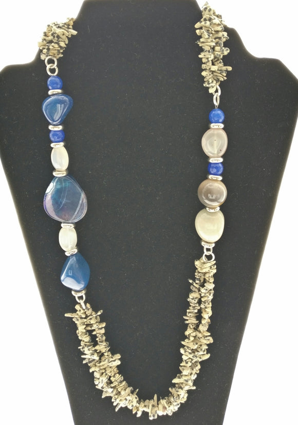 New - White Opal and Blue Agate Gemstone Necklace Adorned with Findings of Smart Metallic Plates - Starjewels