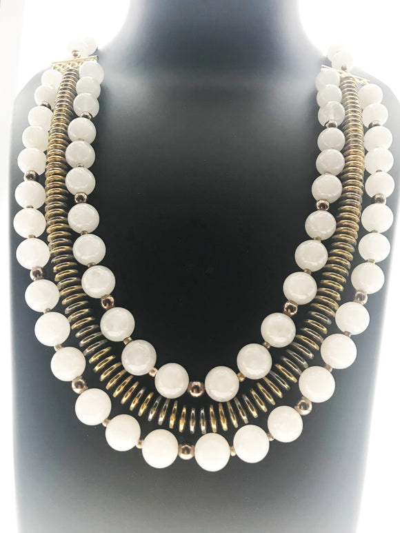 A Gorgeous Three Line Ensemble in White Agates and Gold Hematite Stone (22 Inches) - Starjewels