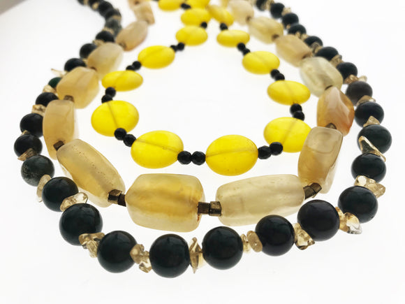 Star Jewels- Modern Designer Semi Precious Stone & Fashion Jewelry A Rare Combination Of Onyx, Agate and Blood Stone with Citrine Strung Together in Three Lines (22 Inches)