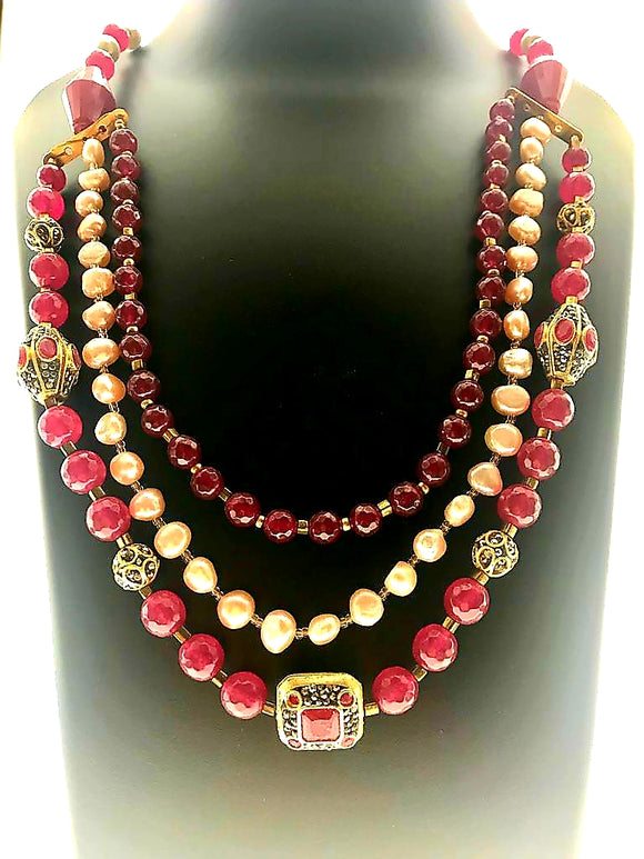 Striking Necklace in Fresh Water Pearls and Red Stone Blended with Elaborate Ornamentation (22 Inches) - Starjewels