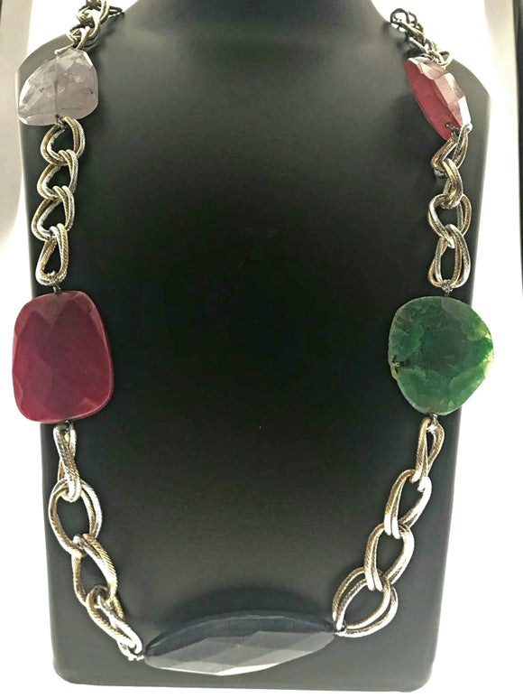 Star Jewels- Modern Designer Semi Precious Stone & Fashion Jewelry Smart Multicoloured Gemstones Fastened Intermittently into a Nice Bold Chan (34 Inches)