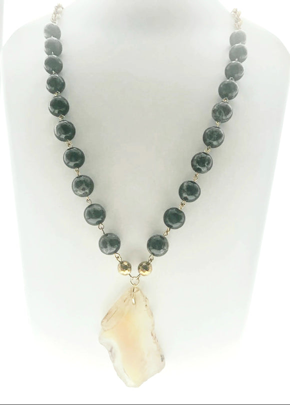 Delicate and Attractive Grey/Black Imperial Jasper Beads Hand-bound with a Natural Agate Pendant (28 Inches) - Starjewels