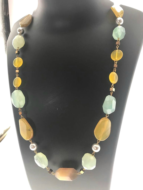 Beautiful Multi Colour Gemstone Necklace with Metallic Embellishment (24 Inches) - Starjewels