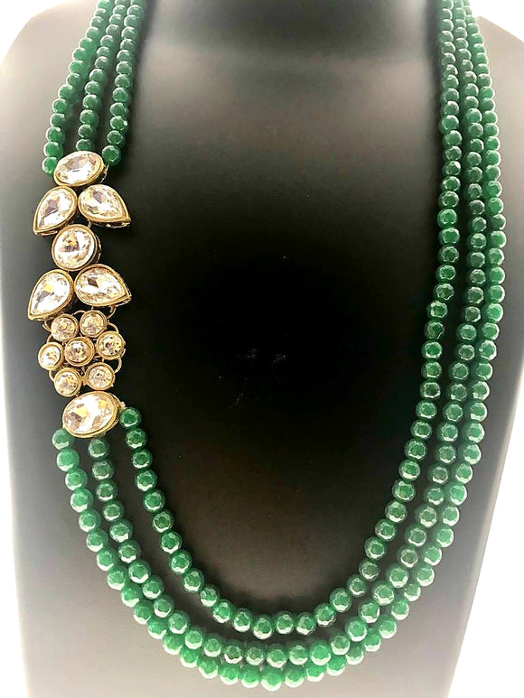 Attractive Three Line Green Gemstone Necklace with an Amazing Kundan Side Pendant (25 inches) - Starjewels