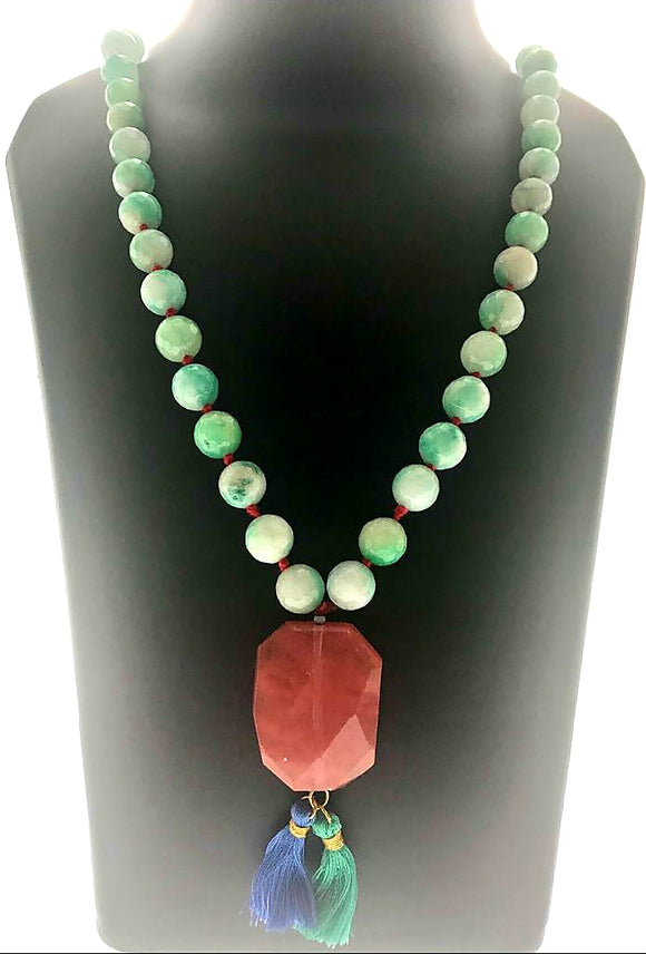 Delicate and Charming Green Gemstones Hand-bound with a Rose Quartz Pendant (28 Inches with Pendant) - Starjewels