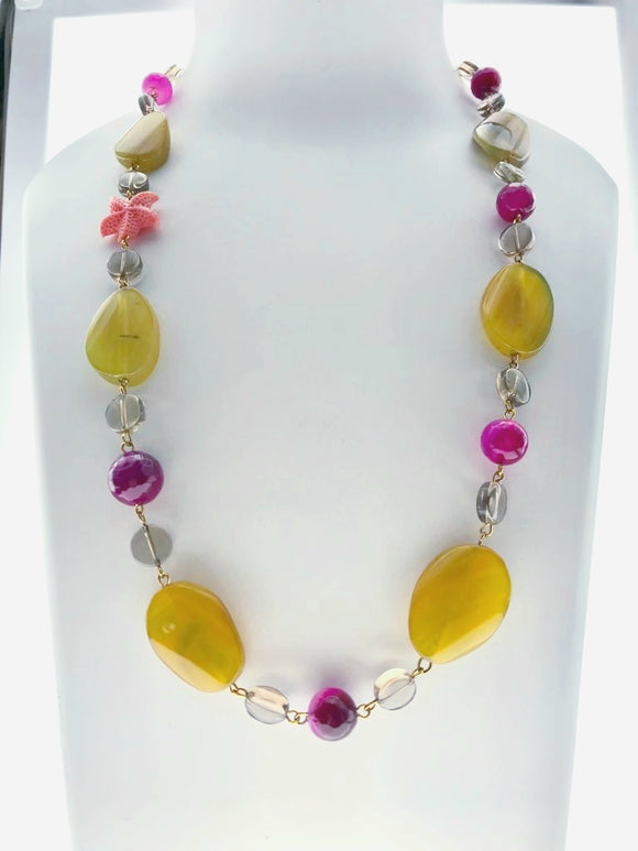 Unique Smoky Topaz with Yellow and Pink Onyx Necklace (25 Inches) - Starjewels