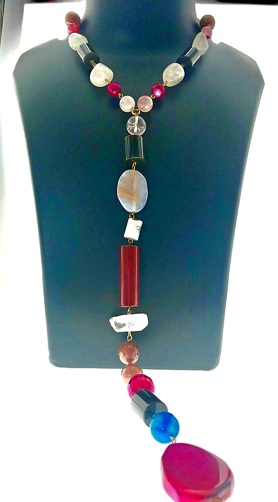 Star Jewels- Modern Designer Semi Precious Stone & Fashion Jewelry A Stunning Stylish Necklace in Rose Quartz, Crystals and Various Gems in a Long Pendant Style (40 Inches)