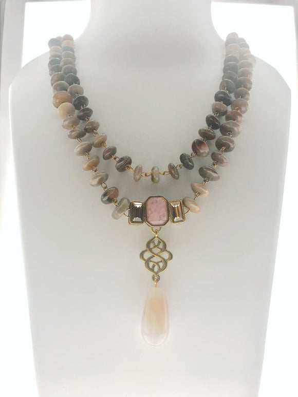 Star Jewels- Modern Designer Semi Precious Stone & Fashion Jewelry A Beautiful Two Line Pink and Brown Agate Necklace (20 Inches)